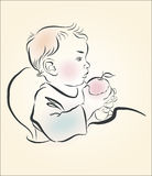 Vector illustration. A child eats an apple Royalty Free Stock Images