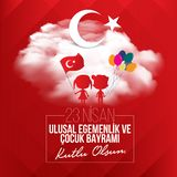Vector illustration of the child holiday 23 nisan , translation: Turkish April 23 National Sovereignty and Children`s Day vector illustration