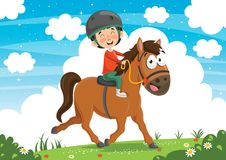 Vector Illustration Of Child Riding Horse Stock Image
