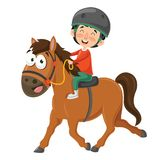Vector Illustration Of Child Riding Horse Royalty Free Stock Photos