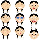 Chinese Girl Emoticon Emoji Stickers royalty free stock photos