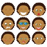 Mixed Afro Boy Emoticon Emoji Royalty Free Stock Photo