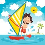 Vector Illustration Of Child Windsurfing Royalty Free Stock Photography
