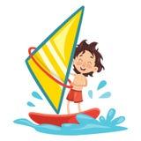 Vector Illustration Of Child Windsurfing Stock Image