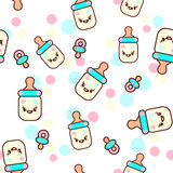 Vector illustration of the childish bottles with the funny faces seamless pattern. Trendy Kawaii emoticons for print on Royalty Free Stock Photography