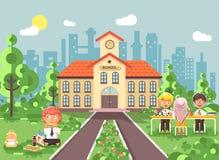 Vector illustration children characters schoolboy schoolgirl pupils apprentices classmates at schoolyard play chess, sit. Stock vector illustration children Stock Photos