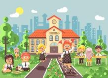 Vector illustration children characters schoolboy schoolgirl pupils apprentices classmates at schoolyard play chess. Stock vector illustration children Stock Images