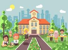 Vector illustration children characters schoolboy schoolgirl pupils apprentices classmates at schoolyard play chess. Stock vector illustration children Stock Photography