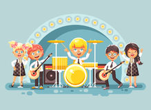 Vector illustration children music band musical group characters schoolboy schoolgirl pupils apprentices play guitars. Stock vector illustration children music Stock Photo