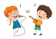 Vector Illustration Of Children Music stock illustration