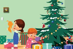 Children Opening Christmas Presents Illustration Royalty Free Stock Images