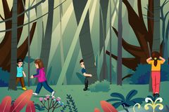Children Playing Hide and Seek Illustration royalty free stock photography
