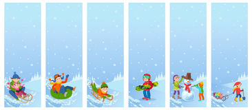 Vector illustration of children playing in the street in winter.  Royalty Free Stock Image