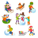 Vector illustration of children playing in the street in winter.  Stock Image