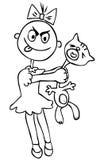 Vector illustration. Children's cruelty. girl torturing a cat. h. Vector illustration. Children's cruelty. Little girl torturing a cat. humor Royalty Free Stock Images