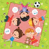 Vector Illustration Of Children`s Picnic. Eps 10 royalty free illustration