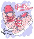 Childrens sport shoes with shoelace. Fashion pink sneakers for baby girl. Composition with lovely little shoes, font and stars. Vector illustration of childrens vector illustration