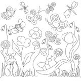 Vector illustration in children`s style on a theme flora and fauna. Plants and insects Stock Images