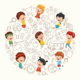 Vector Illustration Of Children Background. Vector Illustration Of Children Sketching eps 10 vector illustration