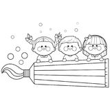 Kids holding a big toothpaste. Coloring book page. Vector illustration of children smiling with healthy teeth and holding a toothpaste. Black and white coloring Stock Photography