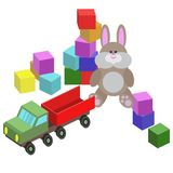 Vector illustration of children toys, cubes. Vector illustration of children toys Stock Images