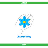 Vector illustration. Childrens Day. Happy Childrens Day. The child`s hand holds a blue flower, a symbol of innocence Stock Photo