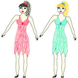 Vector illustration. Childrens drawing by felt pens. The brunette in a pink dress and a blonde in a blue dress Stock Images