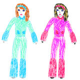 Vector illustration. Childrens drawing by felt pens. Brunette in pink ski suit and a red-haired girl in a blue ski suit Stock Photos