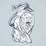 Vector illustration of chimera made in hand drawn style. Mythological magic religion victorian motif, tattoo design element. Heraldry and logo concept art Stock Photography