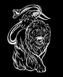 Vector illustration of chimera made in hand drawn style. Mythological magic religion victorian motif, tattoo design element. Heraldry and logo concept art Royalty Free Stock Photos