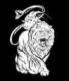 Vector illustration of chimera made in hand drawn style. Mythological magic religion victorian motif, tattoo design element. Heraldry and logo concept art Stock Image