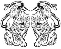 Vector illustration of chimera made in hand drawn style. Mythological magic religion victorian motif, tattoo design element. Heraldry and logo concept art Stock Images