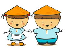 Vector illustration of Chinese children, boy, girl. Royalty Free Stock Photography
