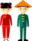 Vector illustration of chinese children, boy, girl, people. Set of  chinese woman and man  dressed in national costumes Stock Image