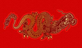 Golden chinese dragon. Vector illustration of a chinese gold dragon. Golden chinese dragon on red pattern background vector illustration