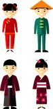 Vector illustration of chinese, japanese children, boy, girl. Set of  chinese, japanese people dressed in national costumes Stock Photography
