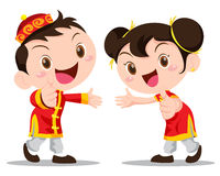 Vector illustration Chinese Kids Stock Images