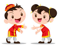 Vector illustration Chinese Kids Royalty Free Stock Photo
