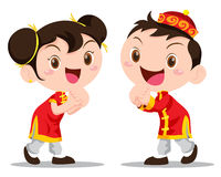 Vector illustration Chinese Kids. Vector illustration cute Chinese Kids action be happy Royalty Free Stock Image
