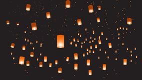 Vector illustration of chinese lanterns in the dark sky royalty free illustration