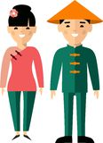 Vector illustration of chinese male and female. Set of  chinese male and female dressed in national costumes Stock Image