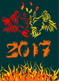 Vector illustration for Chinese New Year of the Rooster 2017. Year fire rooster. The image of fire on a postcard. Sketch Stock Photography