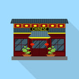 Vector illustration of Chinese restaurant and lanterns Royalty Free Stock Image