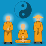 Vector illustration of chinese shaolin monks. Ancient kung-fu fighters Royalty Free Stock Photo
