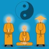 Vector illustration of chinese shaolin monks stock illustration
