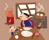 A Chinese village woman preparing dumpling in kitchen. Vector illustration of a Chinese village woman preparing dumpling in kitchen Stock Photos