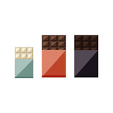 Vector illustration of chocolate bars: white, milk, dark vector illustration