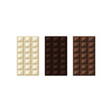 Vector illustration of chocolate bars: white, milk, dark royalty free illustration