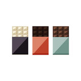 Vector illustration of chocolate bars: white, milk, dark stock illustration