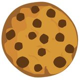 Vector Chocolate Chip Cookie Isolated on White Background Stock Image